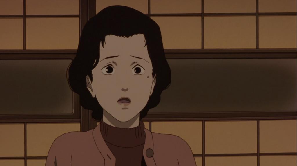 Chiyoko en un fondo sepia, en la película de anime Millennium Actress.