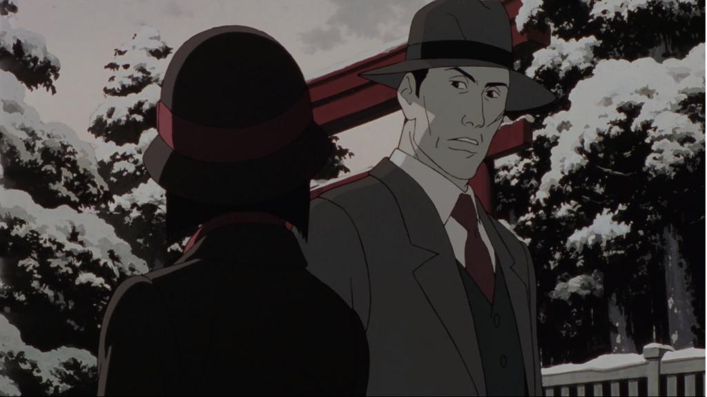 Chiyoko y un policía, colores de Millennium Actress, película de Satoshi Kon.