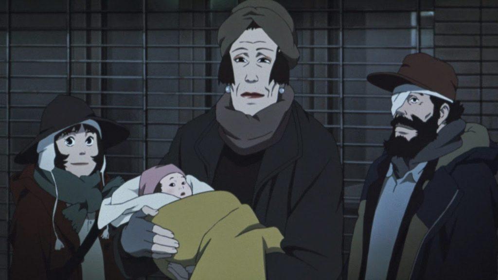 Gin, Hana y Miyuki con el bebé de Tokyo Godfathers entre las manos