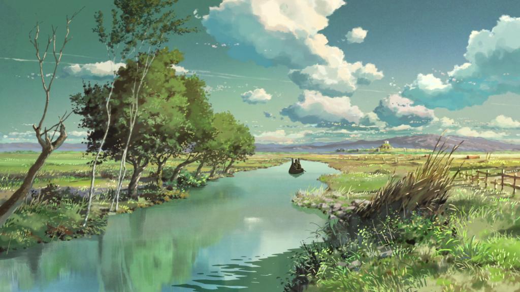un campo dentro de viaje a agartha, de makoto shinkai