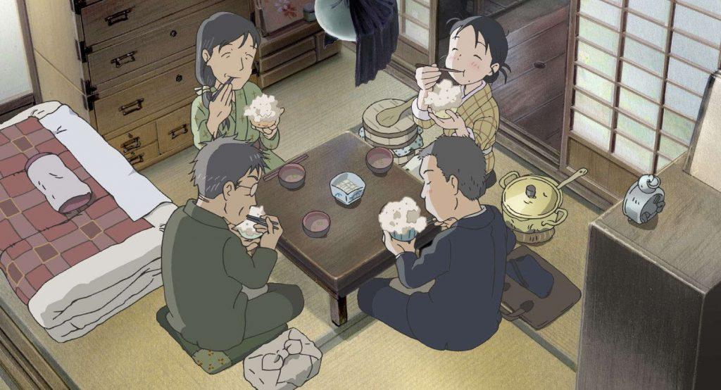 La familia Houjou y Suzu, comiendo juntos en Este rincón del mundo.